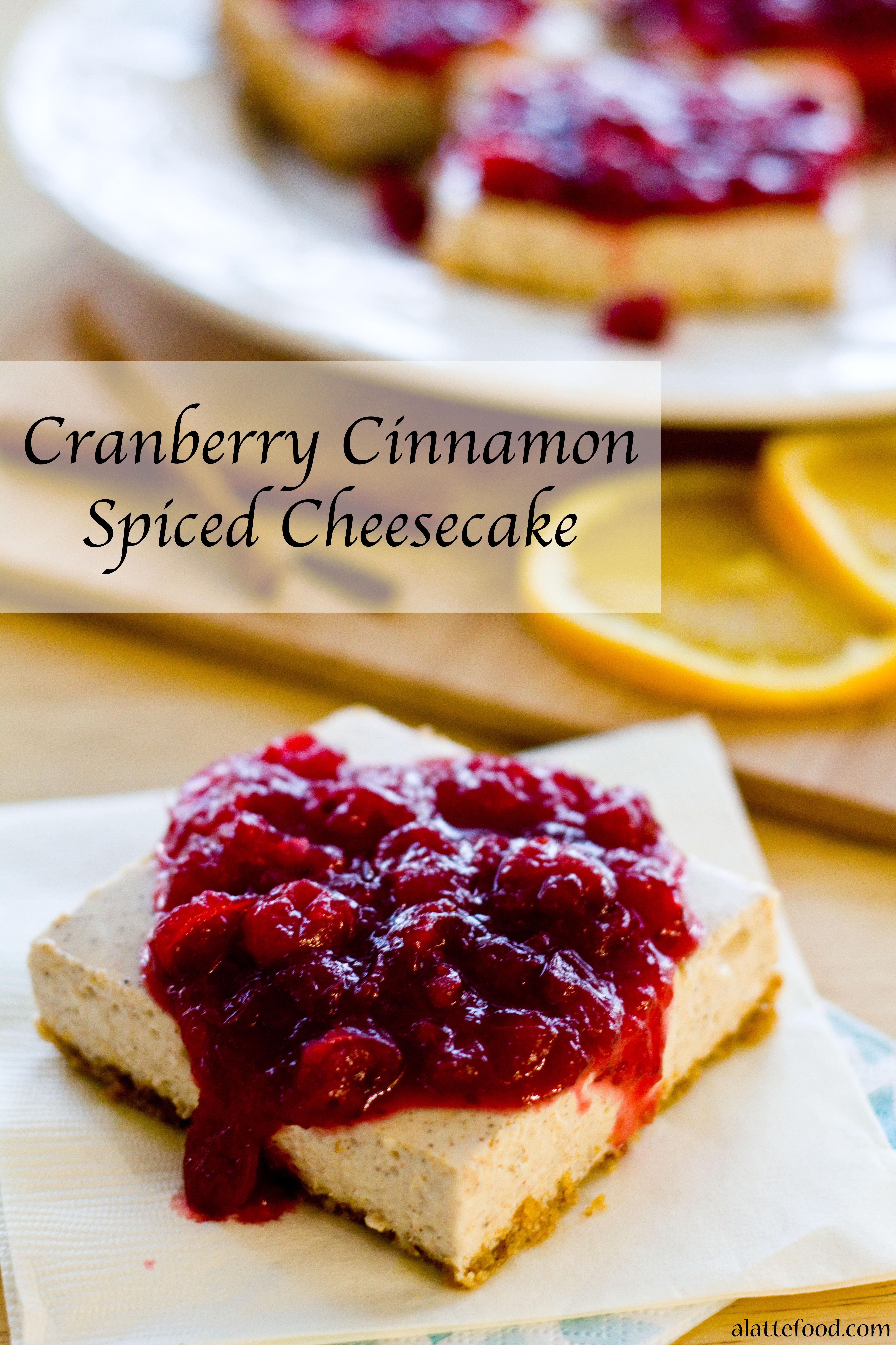 CRANBERRY CINNAMON SPICED CHEESECAKE BARS