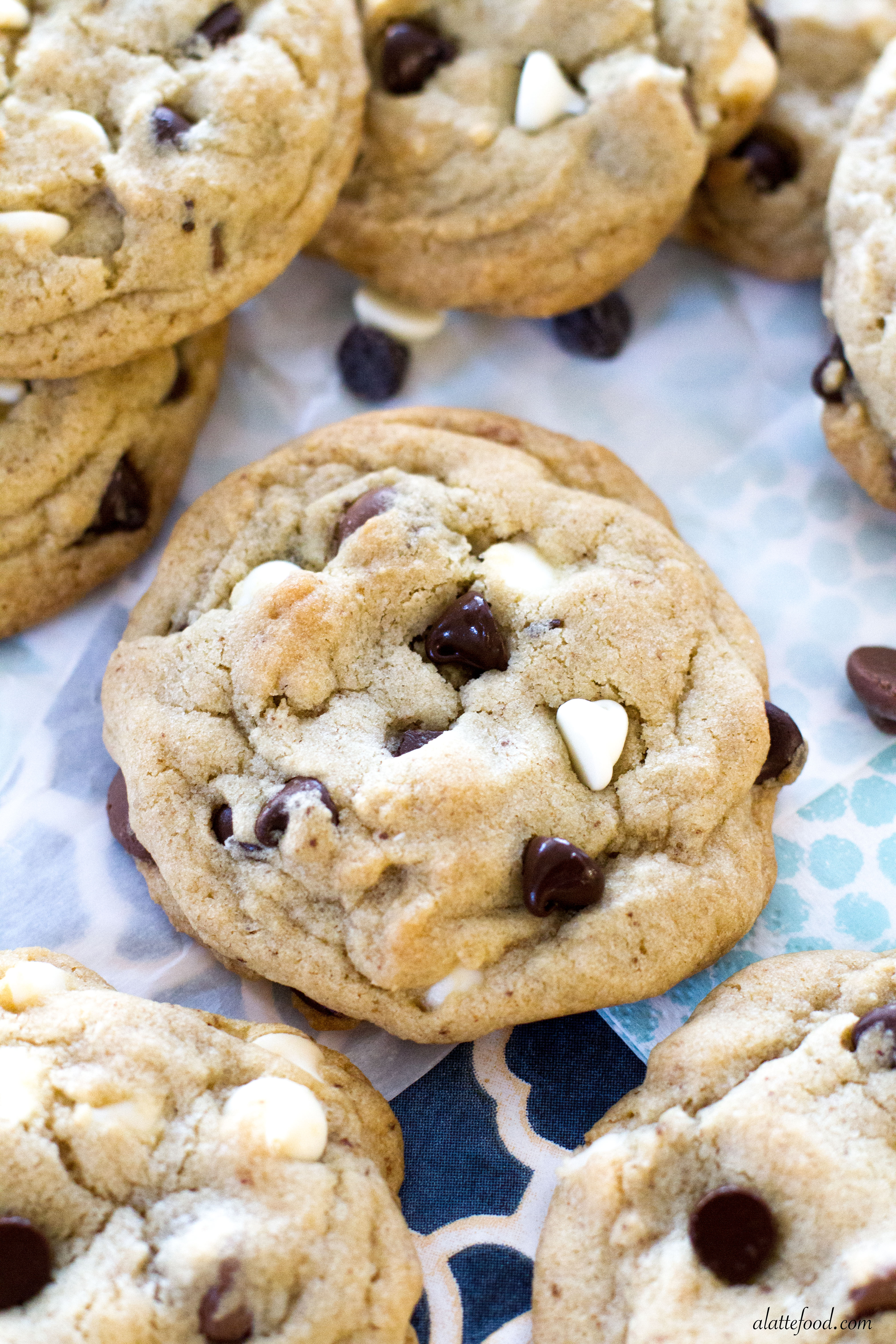Thick And Chewy Triple Chocolate Chip Cookies A Latte Food