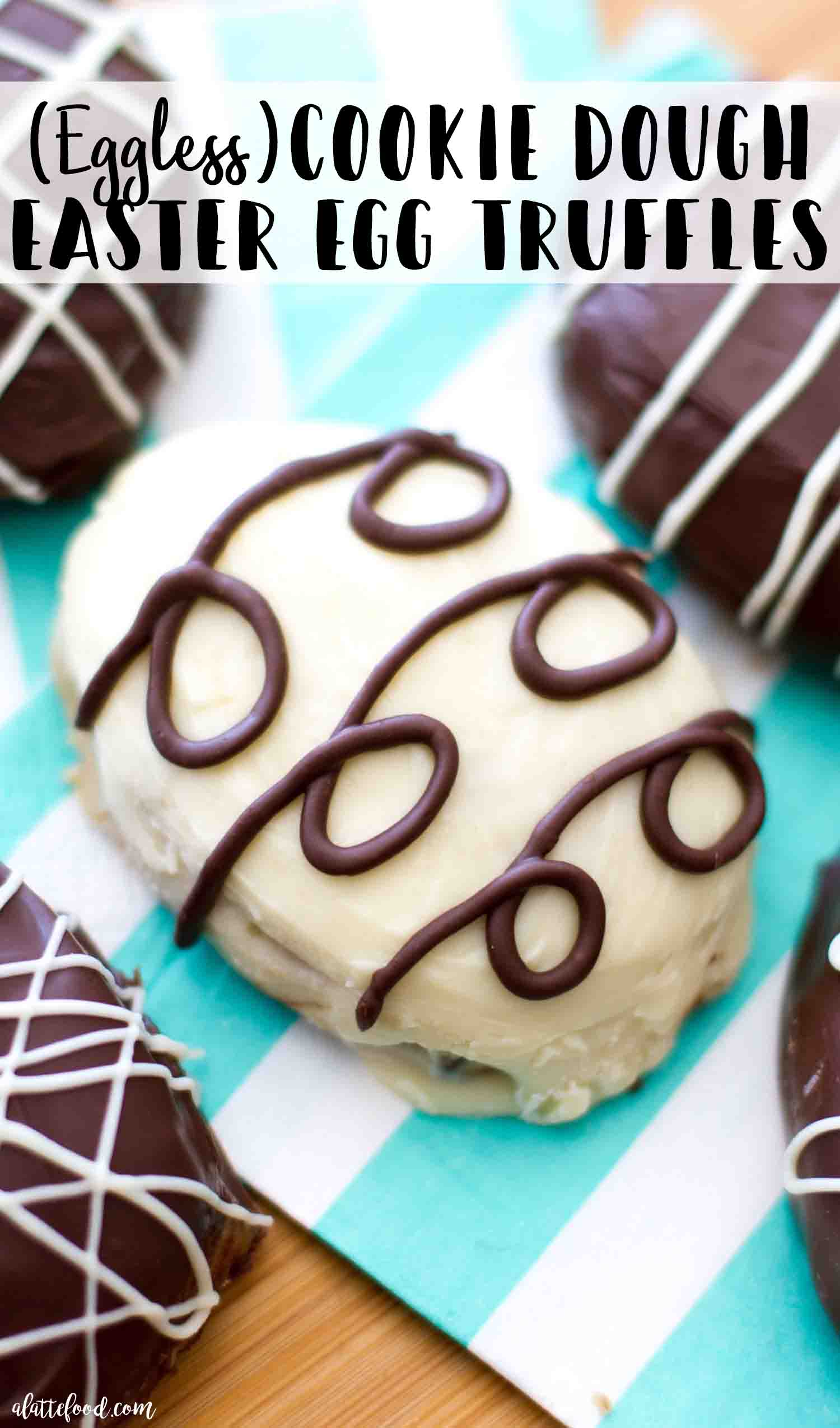These eggless cookie dough easter egg truffles are made with cream cheese and dipped in chocolate