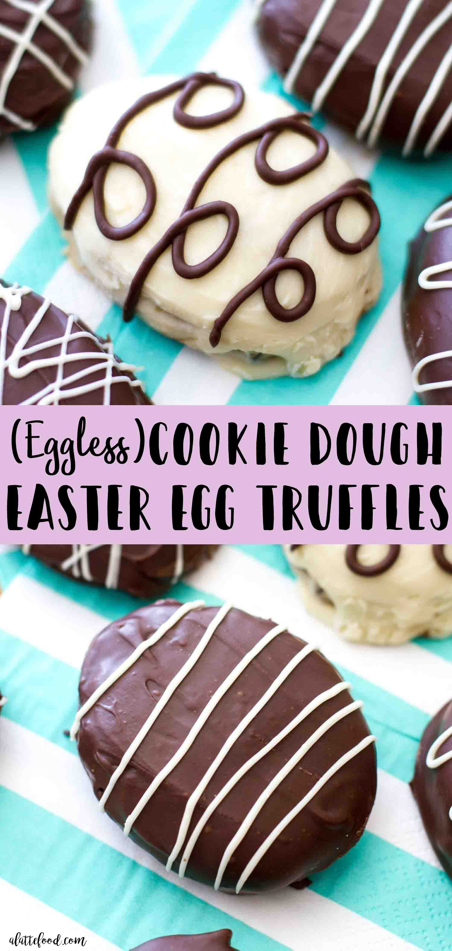 Homemade eggless cookie dough easter egg truffles are dipped in chocolate and make an easy Easter dessert!
