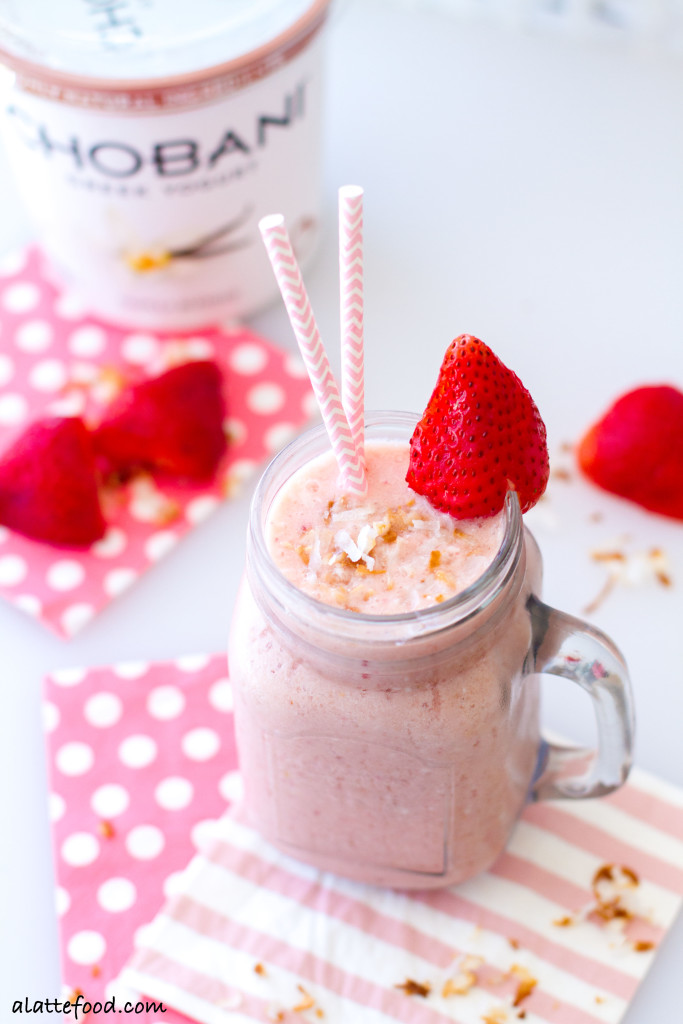 This tropical smoothie is filled with pineapple, strawberries, mandarin oranges, and coconut. Plus, with the addition of coconut milk and Greek yogurt, this smoothie is full of protein!