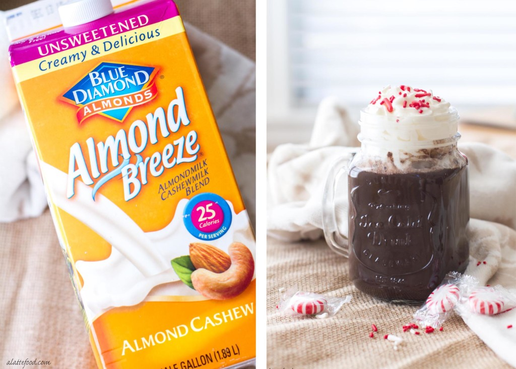 This four ingredient peppermint hot chocolate recipe is thick, creamy, and dairy-free when made with Almondmilk Cashewmilk Blend!