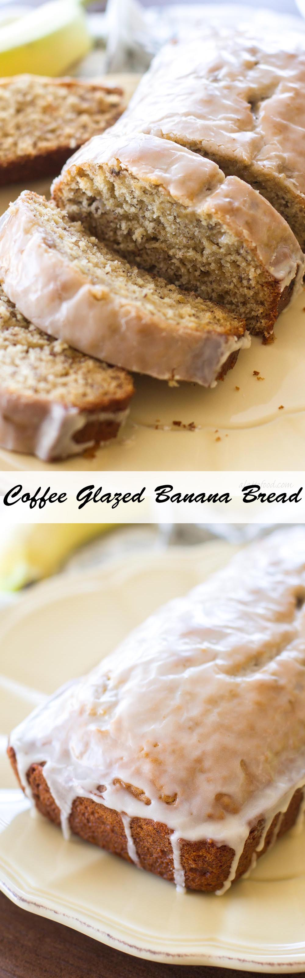 This banana bread recipe is topped with a sweet coffee glaze to combine your morning breakfast and cup of coffee into one sweet treat!