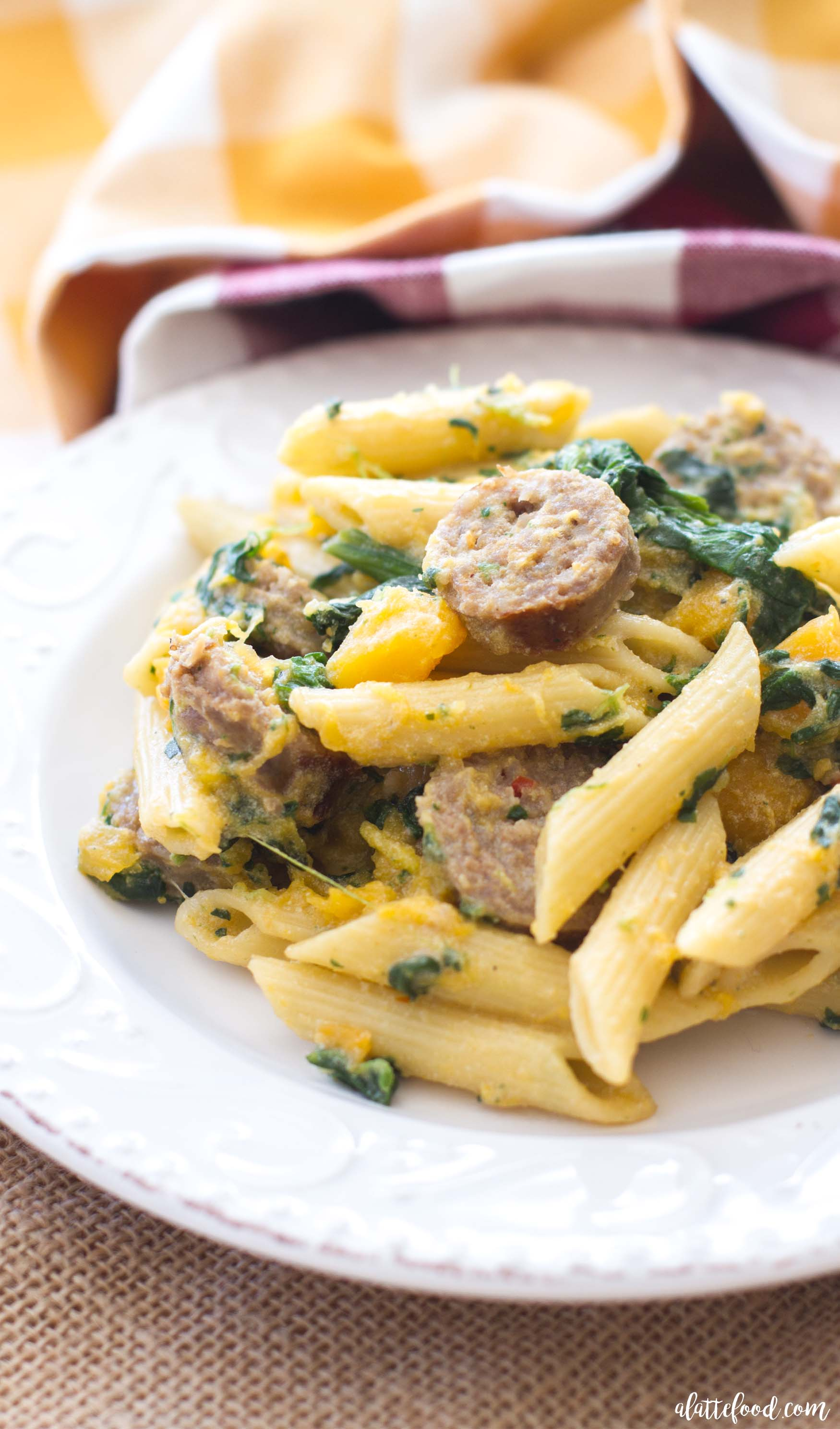 Butternut Squash Spinach Sausage Penne
