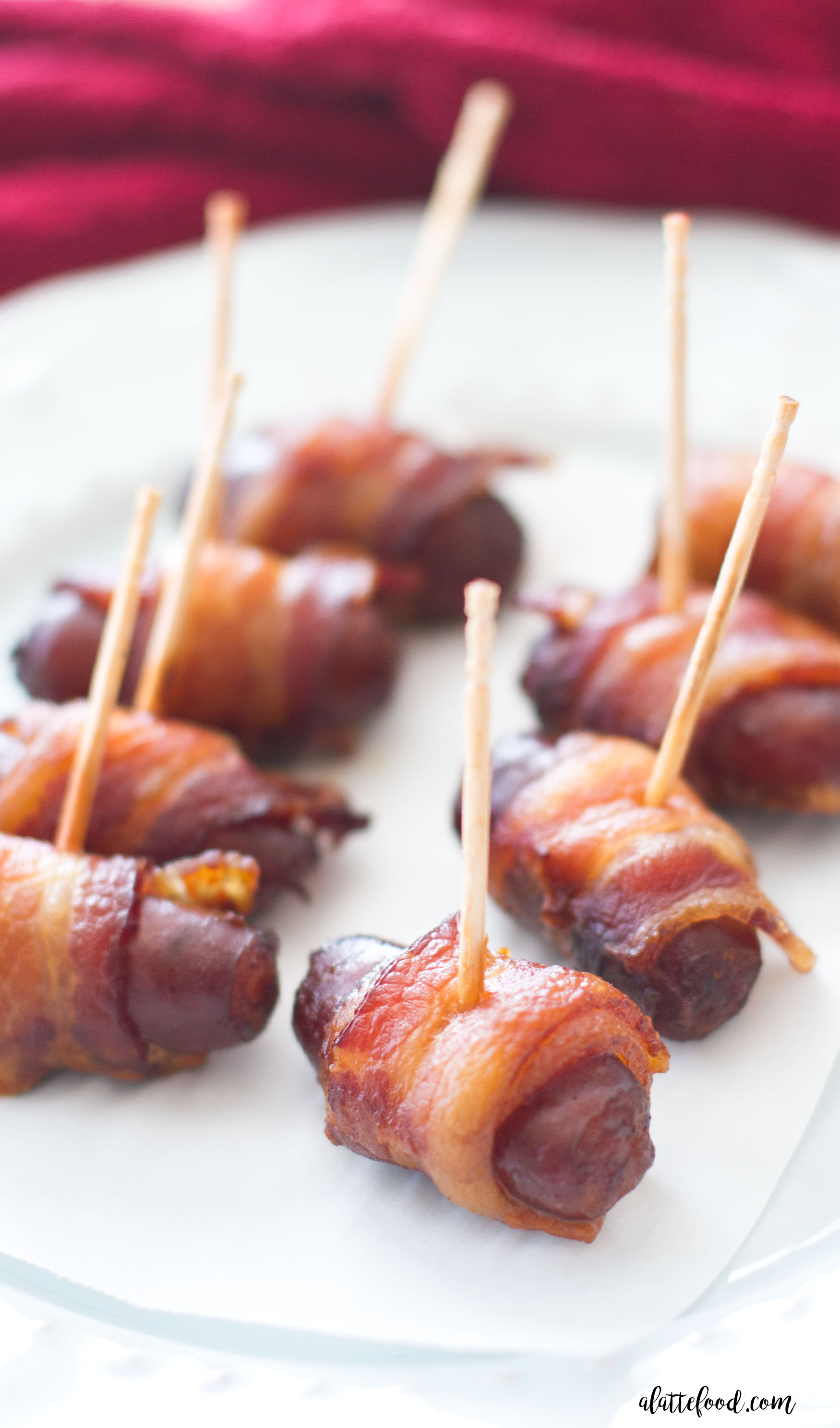 SLOW COOKER PEACH BARBECUE BACON WRAPPED SMOKIES