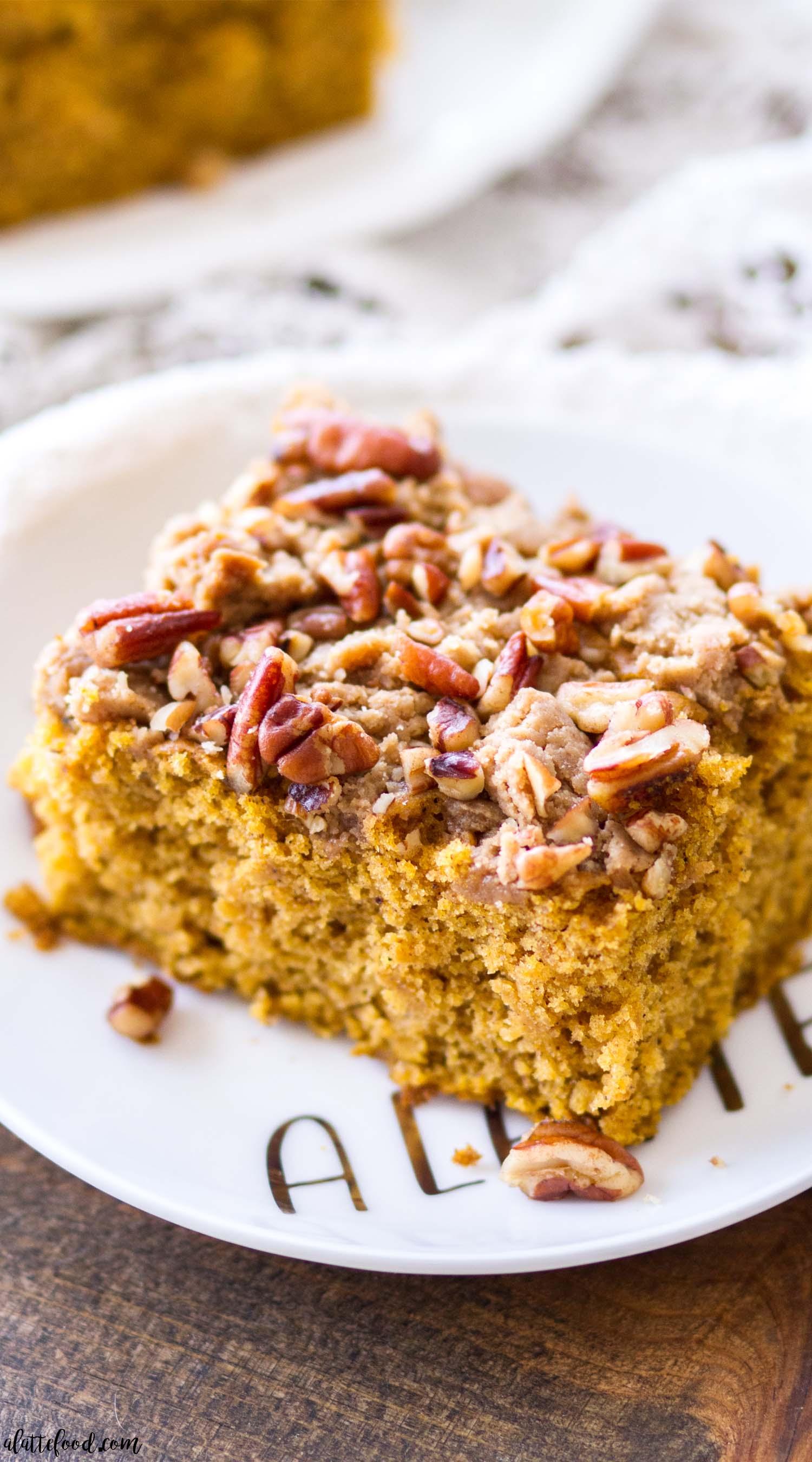 piece of pecan pumpkin coffee cake recipe