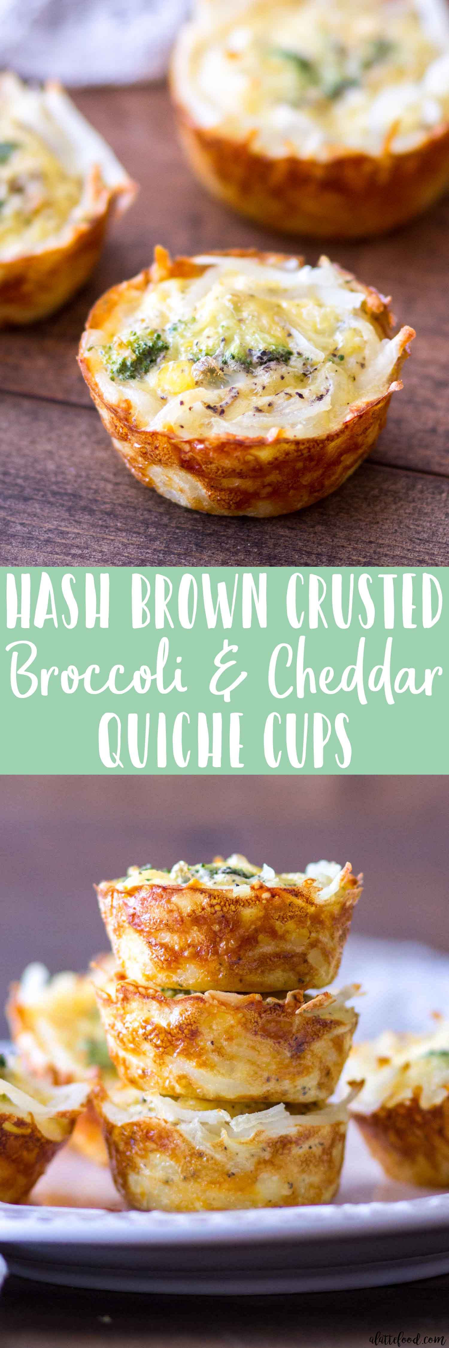 HASH BROWN CRUSTED BROCCOLI CHEDDAR QUICHE CUPS
