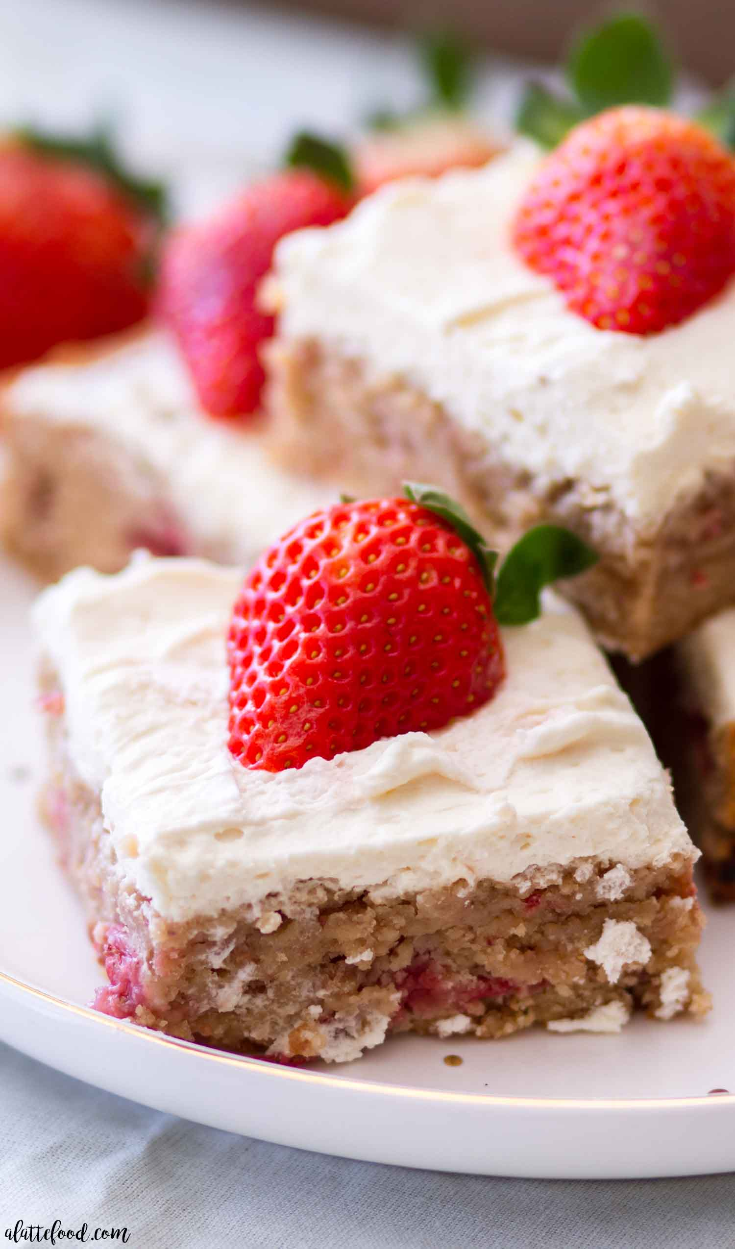 Strawberry Blondies with Whipped Cream Frosting - A Latte Food
