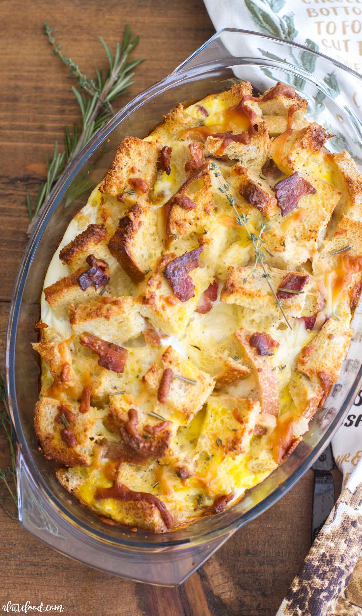 Herb Bacon And Egg Strata A Latte Food